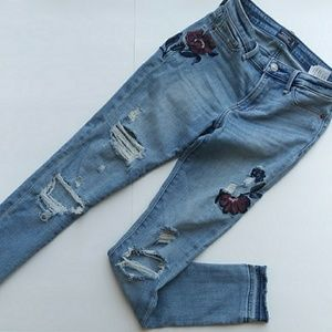 A&F Skinny Embroidered Destressed Jeans